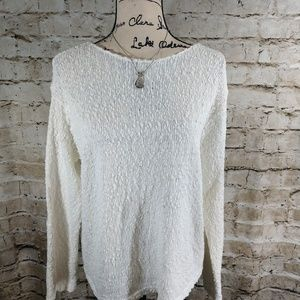 J. Jill White Cable Knit Sweater size Large
